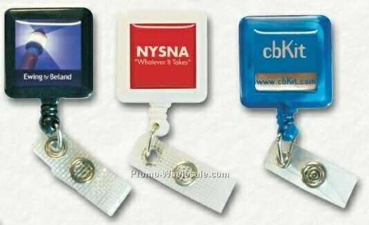 Square Badge Holder With Bulldog Clip & Label W/ Poly Dome (3 Day Service)