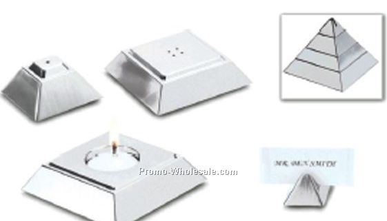 Stainless Steel Pyramid With Salt & Pepper Shakers, Votive, & Card Holder