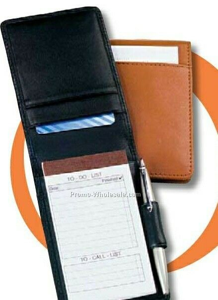 Synthetic Leather Fold Over Note Taker Pad & Case