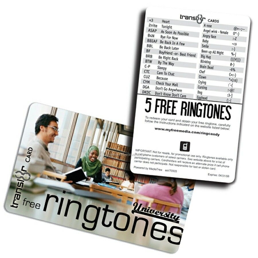 Transl8r Ringtone Combo Card With 5 Free Ringtone Downloads