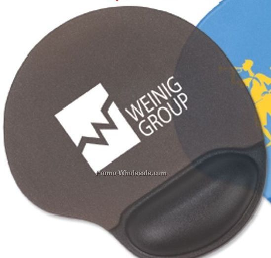 Translucent Oval Neoprene Mouse Pad W/ Gel Wrist Rest