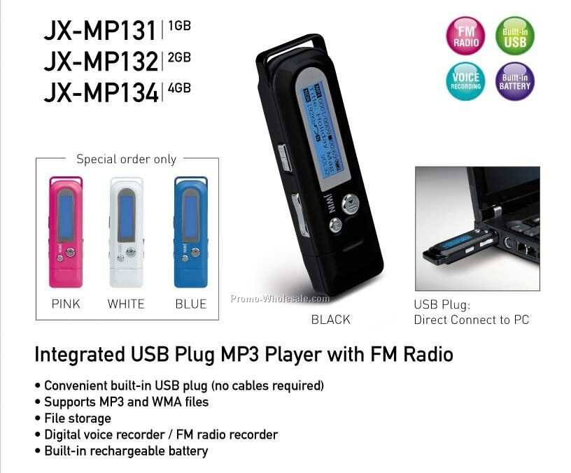 USB Plug Mp3 Player With FM Radio & Voice Recorder - 4gb - White