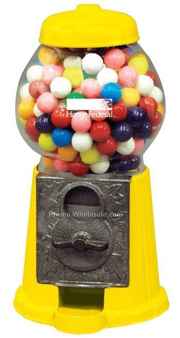 "Yellow 9"" Gumball / Candy Dispenser Machine"