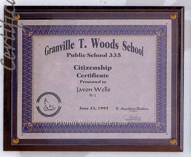 "10-1/2""x13"" Various Finishes Certificate Holder Plaque"