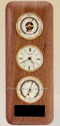 "12-3/4""x5"" Triple Instrument Clock/Thermometer/Barometer Wall Unit"