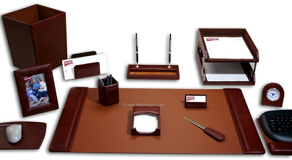 13-piece Classic Leather Desk Set - Mocha Brown
