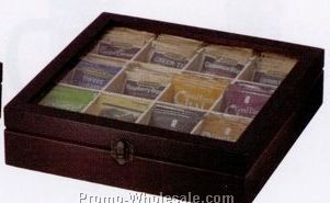 "2-3/4""x11""x10-3/4"" 12 Compartment Beachwood Tea Chest"