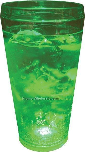 20 Oz. Green Light Up Pint Glass W/ 5 LED Lights