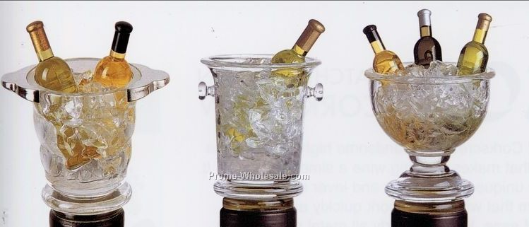 3 Piece Acrylic Gem Wine Chiller Stopper Set With Stand
