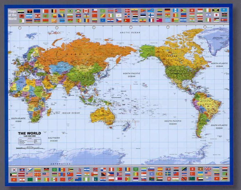 Mapschina wholesale maps 36x27 world map country flags poster with pacific centered sciox Choice Image