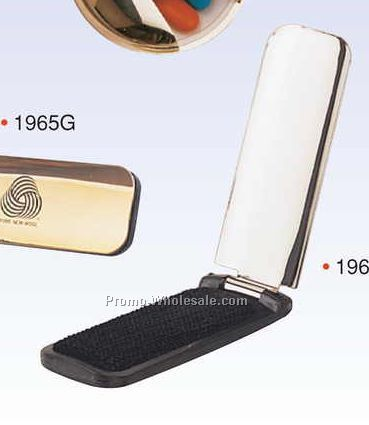 "4-3/4""x1-1/2""x1/4"" 2-in-1 Chrome Plated Shoehorn/ Lint Brush (Engraved)"