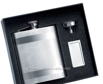 8 Oz Stainless Steel Flask W/2 Horizontal Stripes And Matching Money Clip W