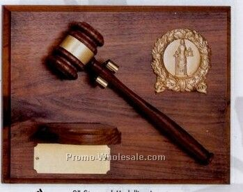 "9""x12"" Genuine Walnut 2"" Stamped Medallion Insert W/Gavel & Block Plaque"