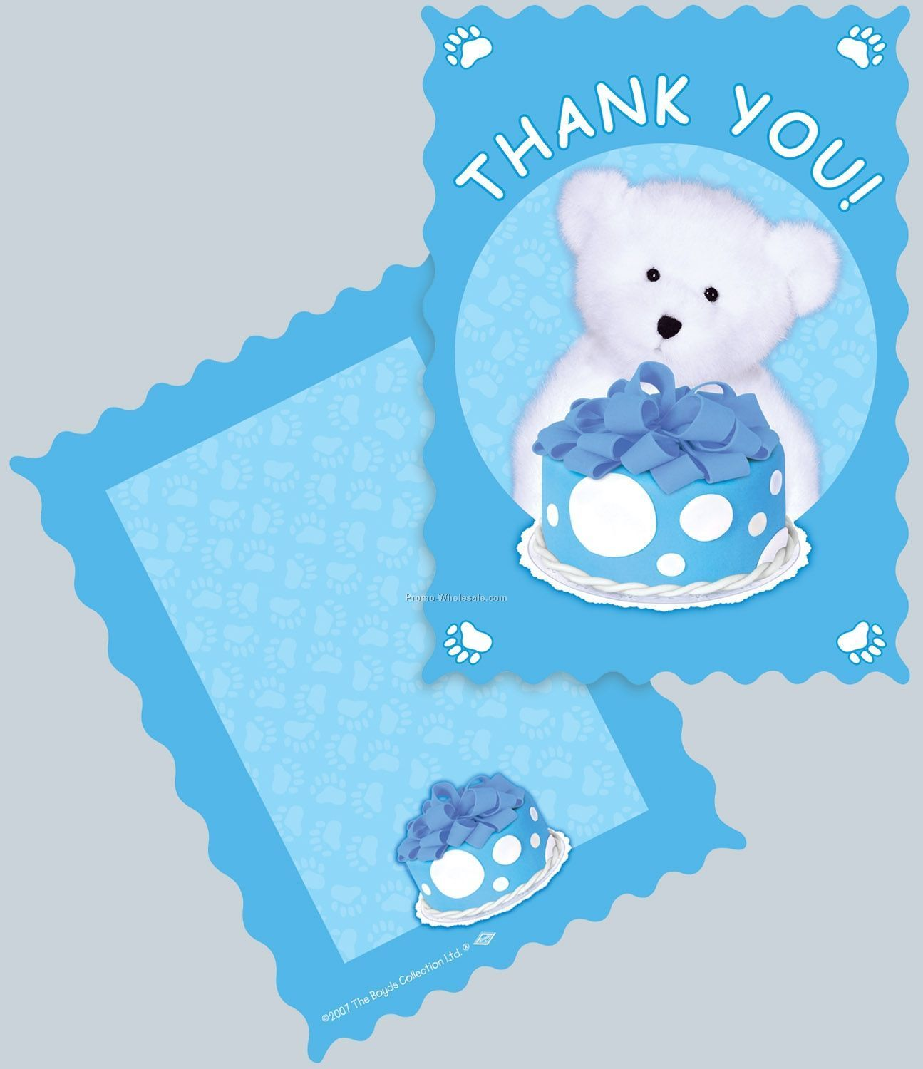 Boyds Bears Birthday Thank You Note - Light Blue