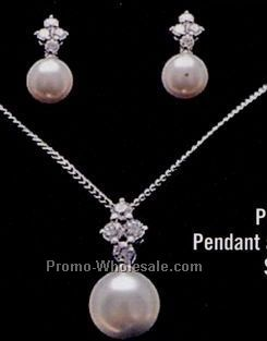 Distinctive Emblematic Jewelry - Pearl Pendant & Earring Set