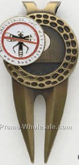 "Large Dimpled Divot Tool/ Money Clip With 1"" Magnetic Ballmarker"