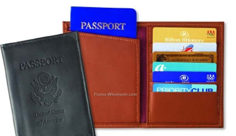 Leather Passport Attache & Credit Card Caddie - Oxford Bonded Leather