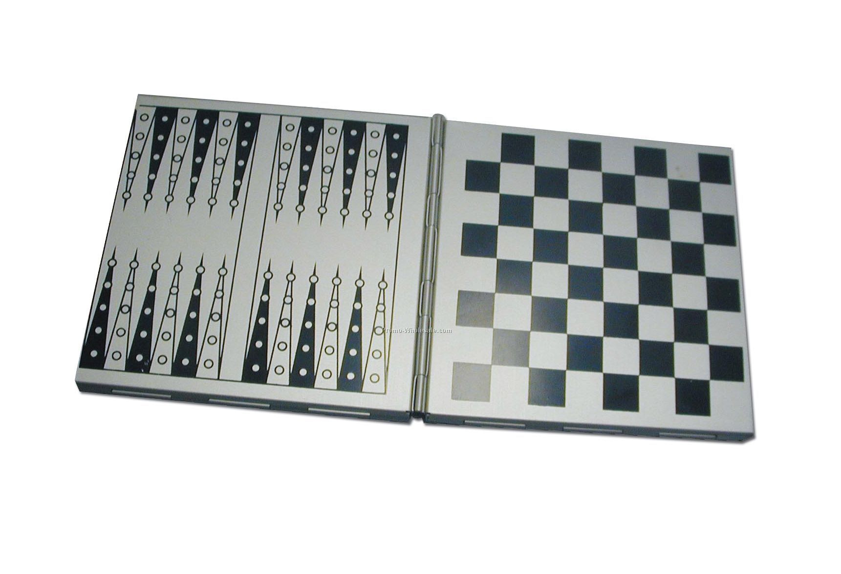 Magnetic 3-in-1 Metal Case Chess/Checkers/Backgammon Set