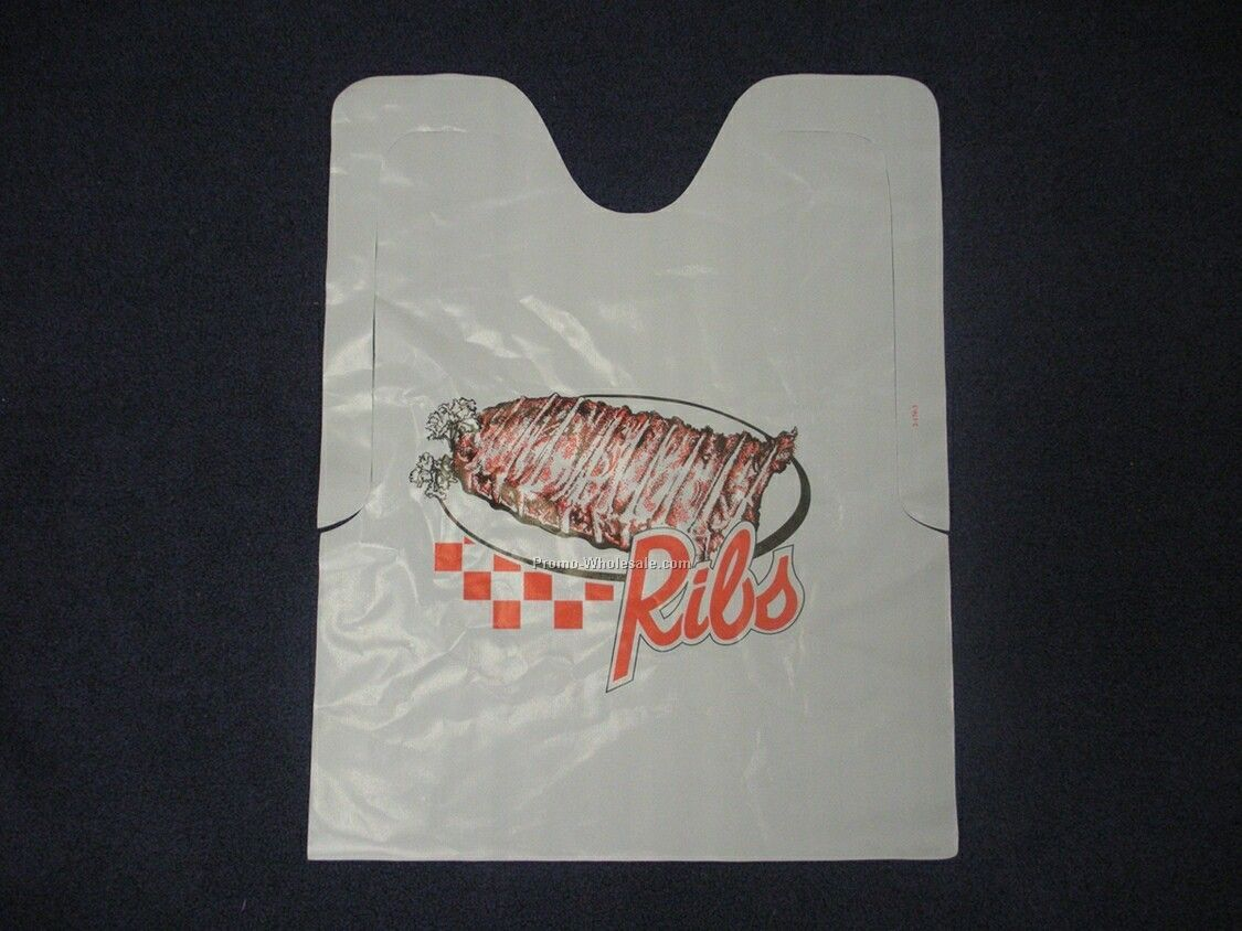 Plastic Disposable Adult Bib With Ribs Logo