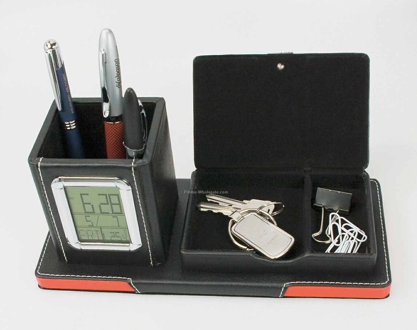Presidential Series Desk Clock W/ Pen Holder & Storage Compartment