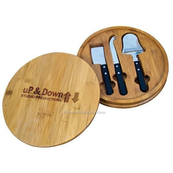 "Round Bamboo Serving Set W/ 11"" Bamboo Cutting Board (Blank)"