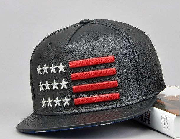 Black PU leather snapback with embroidery