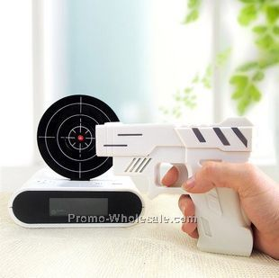 Novelty Gadget Funny LCD Gun Alarm Clock,Lazy guy gun shooting alarm clock laser