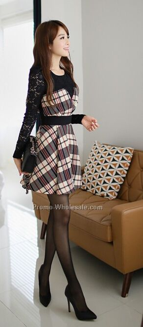 Checkered Dress with Lace Sleeve