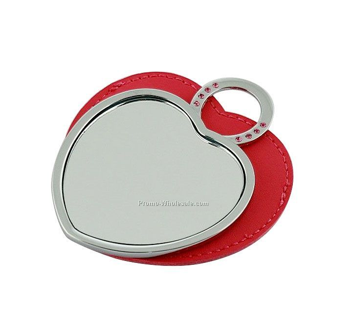 Silver Heart Compact Mirror with PU case