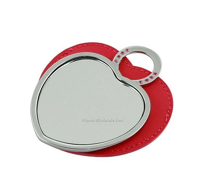 compact mirror bulk. silver heart compact mirror with pu case bulk