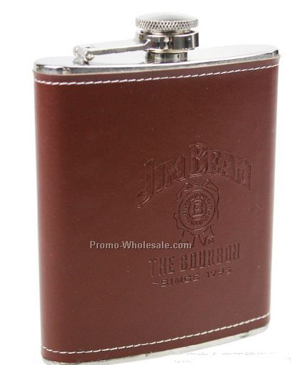 Vinyl Leatherette Wrapped Stainless 8 Oz. Flask