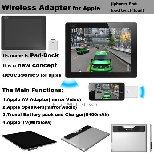 Wireless multi-function adapter for Apple, dock for Iphone