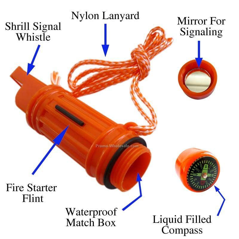 Survival Tube Whistle With Compass