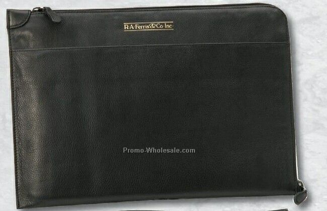 "15-3/8""x10-3/4"" Leather Slim Zip Around Briefcase"