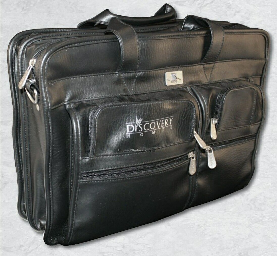 "17""x12-1/4"" Leather Zippered Attache"