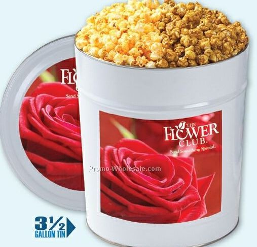 2 Gallon 2-way Caramel/ Classic Butter Or Cheese Popcorn Tin
