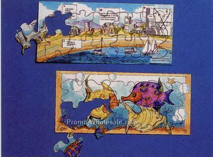 "3-3/4""x8-1/2"" 10 Piece Mini Jigsaw Puzzle - 4 Color"