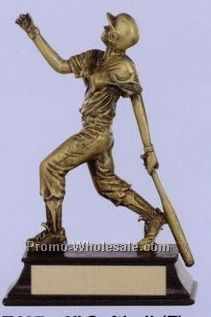 "6"" Sport Sculpture W/ Antique Gold Finish (Female Softball)"