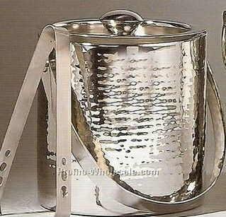 "6""x6"" Double-wall Hammered Ice Buckets W/ Tongs"