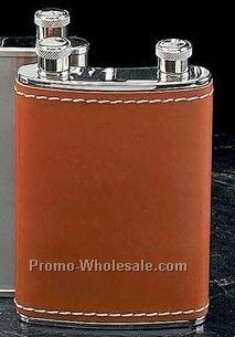 7 Oz. Double Stainless Steel Chrome Flask With Brown Leather