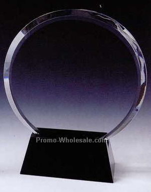"8""x6-1/2""x2-3/8"" Black Optic Crystal Circle Award W/ Base"