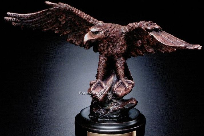 Bronze Plated Eagle On Rock Award 8-1/2""