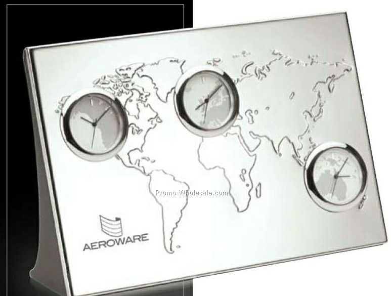 "Essentials Pianeta 3-time Zone Desk Clock 7-1/8""x4-3/4""x1-3/4"""