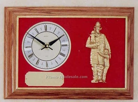 "Firematic Clock - 12""x16"" Oak Framed Fireman & Child"