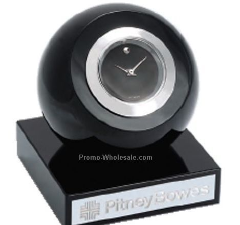 Movado Black Round Clock With Silver Trim