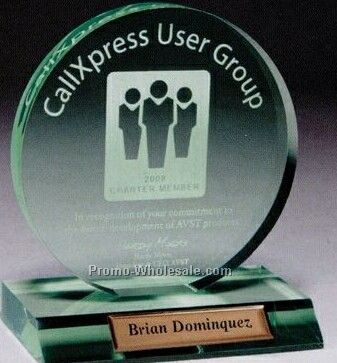 Multi Faceted Jade Green Acrylic Circle Award (Screen Printed)