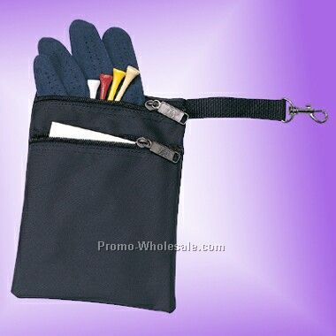 Nylon Golf Pouch W/ 2 Zipper Pockets & Hook