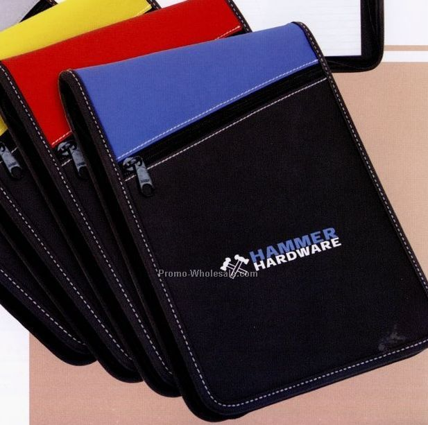 Padfolio With Zipper Pocket, Inside Pockets, Calculator And Pen Loop