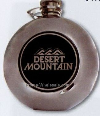 "Round Metal Flask W/ 2"" Medallion"