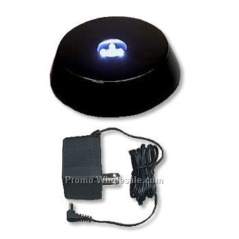 Small Round Piano Finish LED Lighted Base